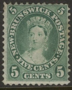 NEW BRUNSWICK 8 1860 CENTS ISSUE 5c YELLOW GREEN QUEEN VICTORIA MPH