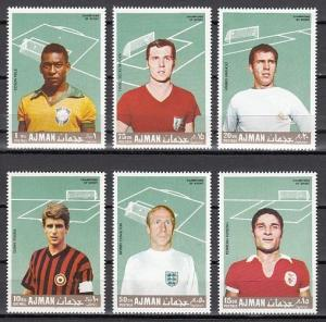 Ajman, Mi cat. 310-315 A. Soccer Players issue.
