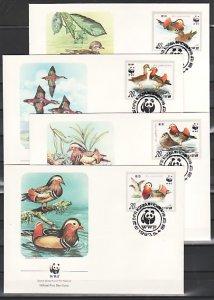 N. Korea, Scott cat. 2679-2682. W.W.F.- Mandarin Ducks. 4 First day covers. ^