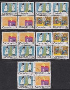 Canada Group of 5 used Christmas blocks of 4 containing #521, 522 and 523