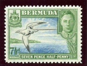 Bermuda 1938 KGVI 7½d black, blue & bright green superb MNH. SG 114b. Sc 121D.