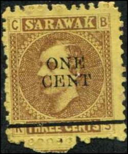 Sarawak SC# 25 SG# 27 Sir Charles Johnson Brooks 1c  on 3c MH see note below