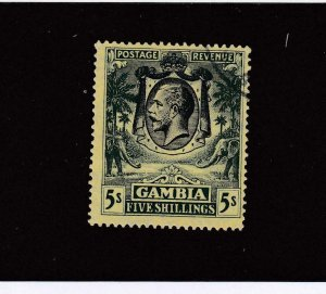 GAMBIA # 119 VF-LIGHT USED KGV 5sh CAT VALUE $67.50