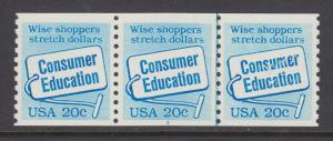 US Sc 2005 MNH. 1982 20c bue Consumer Education, Plate #3, strip of 3
