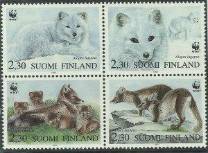 1993  FINLAND - SG: 1310/13 - ARTIC FOX - UNMOUNTED MINT