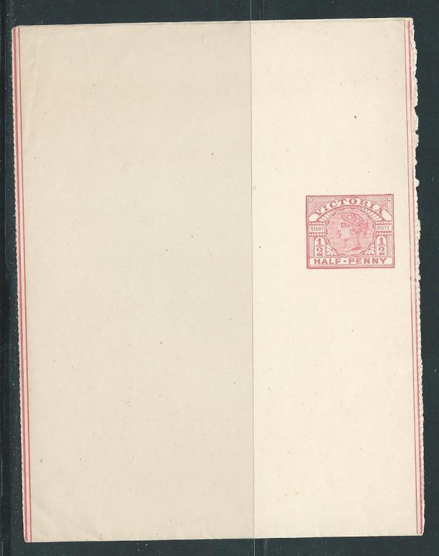 Victoria Postal Stationery Stationary Wrapper H&G 15 Mint