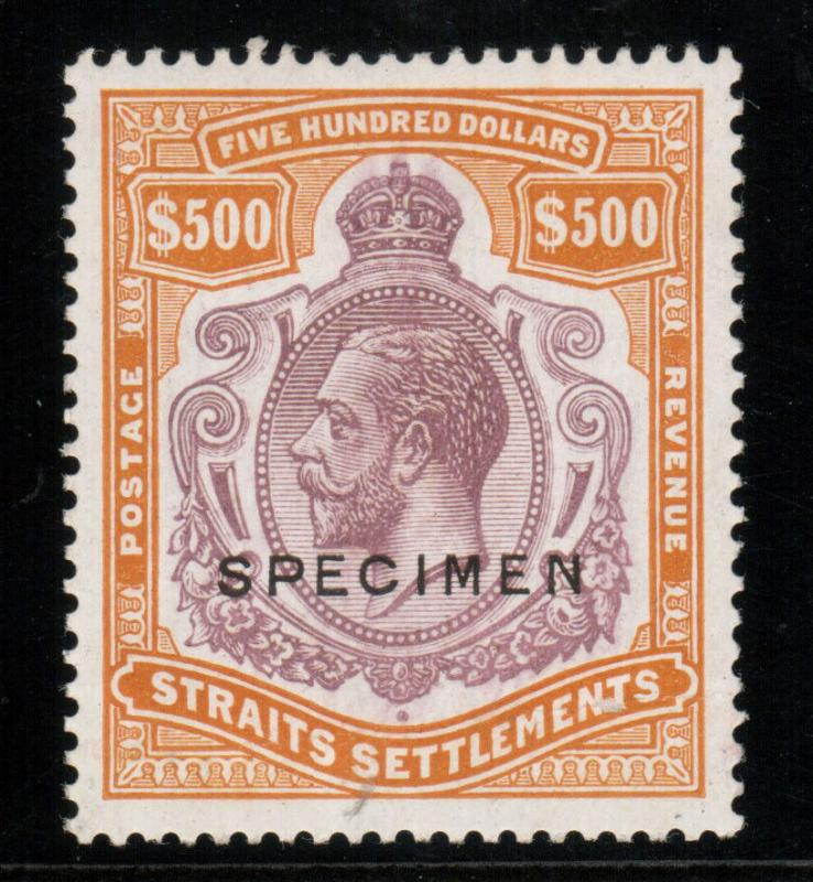 Straits Settlements #204s (SG #240ds) VF Never Hinged $500 Purple Orange Brown