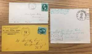 US #147,158 Circa 1880s Covers + Unstamped 1943 U.S. Army Cover