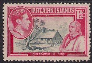 Pitcairn Islands 1940 - 51 KGV1 1 1/2d John Adams & House MM SG 3 ( F1373 )