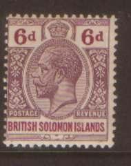 British Solonmon Is 6d SG332 hinged mint
