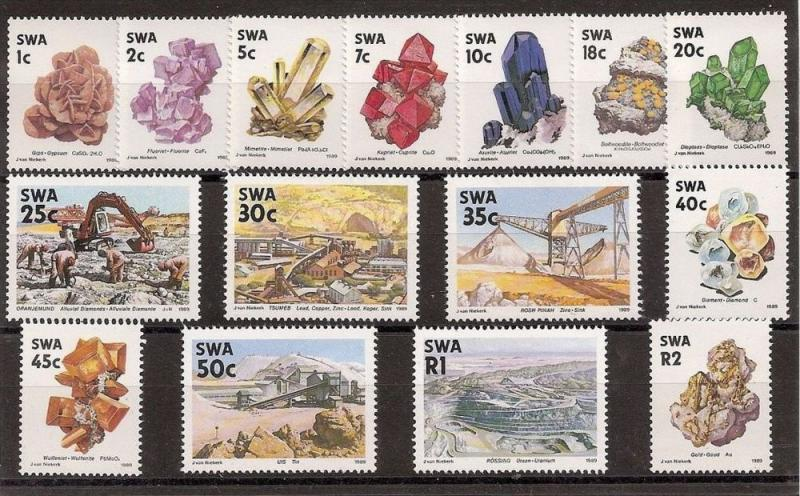South West Africa 1989 Minerals set of 15. MNH