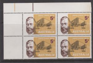 Australia 1965 Hargrave Sc# 391 Corner Block of 4 Mint Hinged on 2 stamps