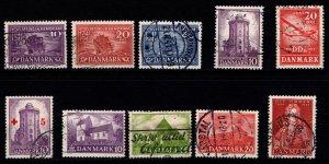 Denmark 1941-44 Commemoratives, Complete Sets [Used]