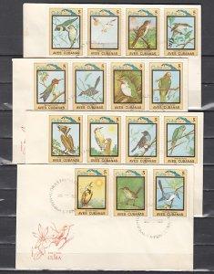 Cuba, Scott cat. 2644-2658. Bird values from set. 4 First day covers. ^