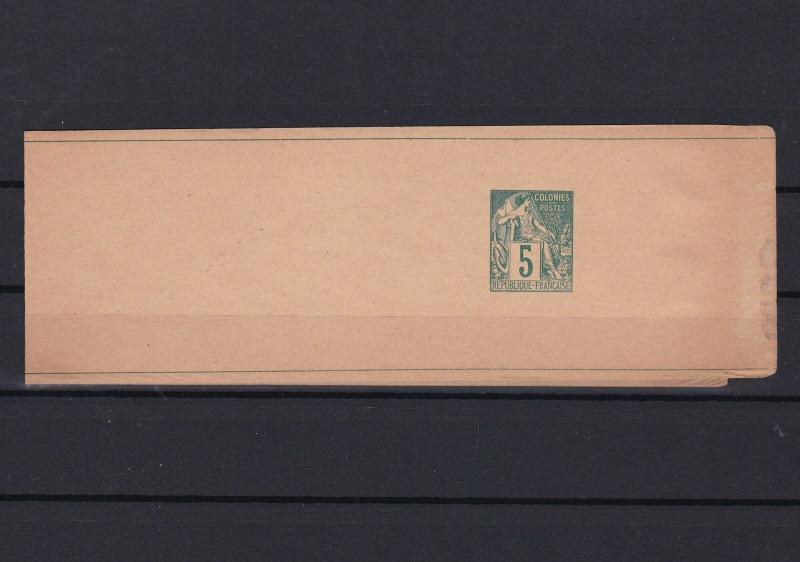 original authentic french colonies newspaper stamp wrapper 1876 - 90 ref r13043