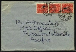GB TO PITCAIRN 1950 cover with Pitcairn arrival cds on front of cover......19515