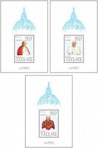 Togo - Popes John Paul II, Francis, Benedict XVI 3 Sheetlet Set 20H-682