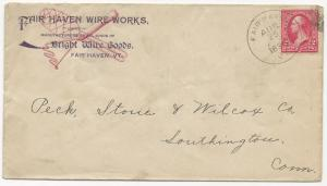 US AD COVER Fair Haven Wire Works Fair Haven, VT 1898