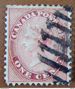 Canada Sc 14 (1859) Queen Victoria Used Rose VF Cat.Value $100.00