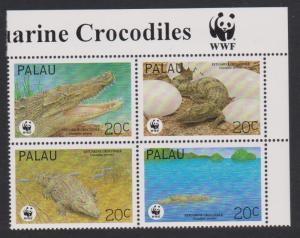 Palau WWF Estuarine Crocodile 4v in block 2*2 with WWF Logo SG#673-676