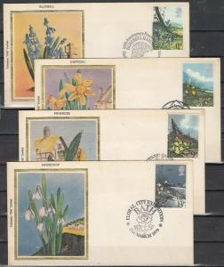Great Britain, Scott cat. 855-858. Flowers on 4 Silk Cachet. First Day Covers. ^