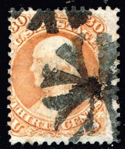 US STAMP #71 – 1861-62 30c Franklin, orange USED