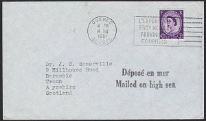 GB USED IN CANADA 1961 cover 'Mailed on High Sea' - Quebec cancel...........H320