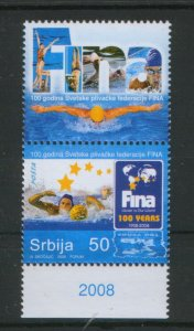SERBIA-MNH-SAMP+LABEL (VERTICALL)-100 YEARS FINA-WATER POLO-2008.