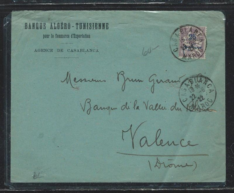 FRENCH MOROCCO  (PP2709B) 1922 25C SURCH COVER TO FRANCE
