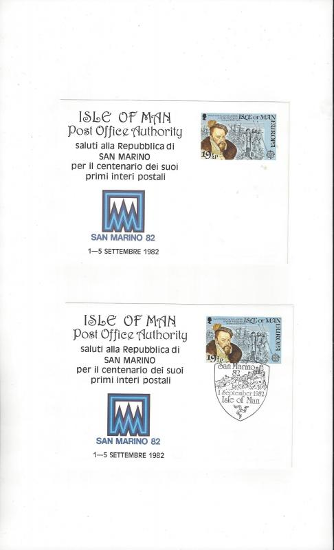 Isle of Man San Marino 82 Exhibition Card  Mint & Posted