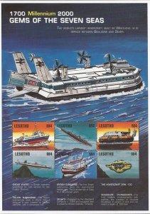 Lesotho - 1999 Submarines Hovercraft Hydrofoil Speedboat - 6 Stamp Sheet #1216