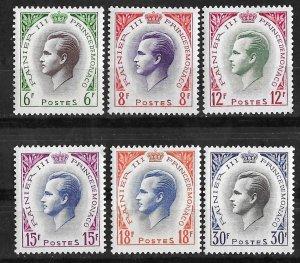 Monaco # 334-39  Prince Rainier III   (6)  VLH Unused