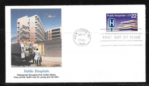 United States 2210 Public Hospitals Fleetwood First Day Cover FDC (z2)