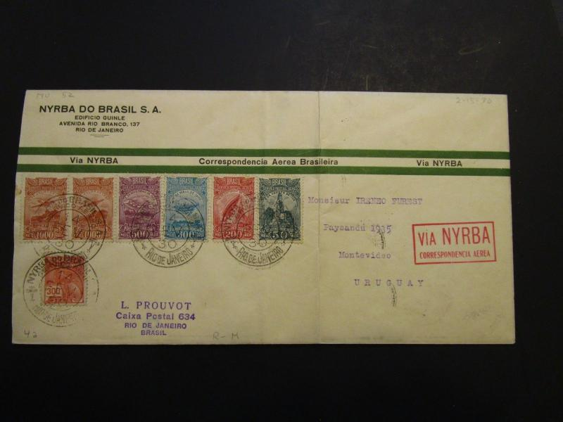Brazil 1930 NYRBA Flight Cover to Uruguay / 2-15-30 (Creases / Archived) - Z3693