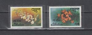 Bhutan, Scott cat. 263-264. Orchid values SURCHARGED. *