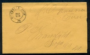 1862, MITCHELL'S CREEK PA Official Post Office cover w/contents, Free manuscript