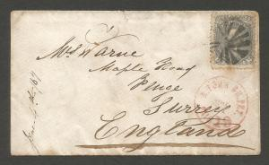 UNITED STATES 1867 24c  on COVER TO ENGLAND   Sc 78 ASDA CERT
