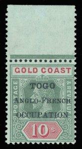 Togo 1916 KGV 10s green & red/blue-green (olive back) superb MNH. SG H57a.