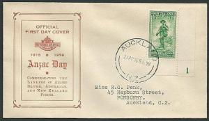 NEW ZEALAND 1936 ANZAC 1d plate 1 example on FDC...........................42998