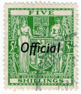 (I.B) New Zealand Revenue : Stamp Duty 5/- (Official)