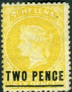 ST HELENA-1873 2d Yellow.  A mounted mint example Sg 10