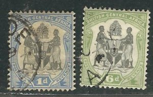 British Central Africa (Nyassaland) 2 Different Used VF 1897 SCV $6.75
