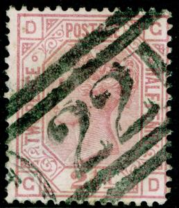 SG141, 2½d rosy mauve PLATE 6, USED. Cat £60. GD