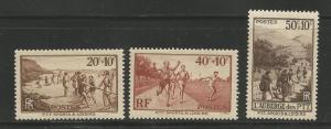 FRANCE B60-B62 MINT HINGED RECREATION SET 1937
