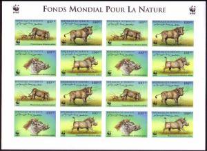 Djibouti WWF Eritrean Warthog Imperforated Sheetlet of 4 sets SG#1192-1195