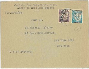 21415 - PORTUGAL - POSTAL HISTORY - COVER from ACORES to USA