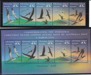 Christmas Island #  349 & 349a, Seabirds, NH, 1/2 Cat.