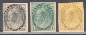 Canada #74p-75p + 81p MINT Imperforated -- Proof Card -- C$625.00