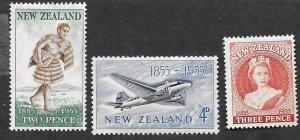 New Zealand Scott #302-304 Stamp Centenary complete set (1955) MNH