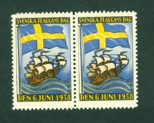 Sweden Poster Stamp Pair Mnh. 1938  National Day June 6. Swedish Flag,Sail Ship